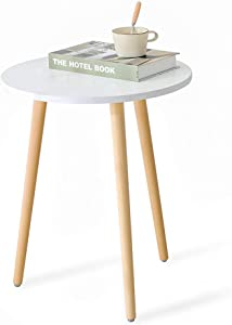 HATON Side Table, Round Modern Home Decor End Tables Accent Coffee Tea Table White Wooden Nightstand for Living Room, Bedroom and Balcony