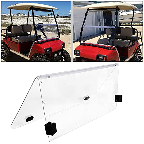 ECOTRIC New Clear Fold Down Windshield for Club Car DS | 2000.5 to Current | Impact Resistant Windshield for DS Golf Cart EZGO Windshield 3/20'' Thick