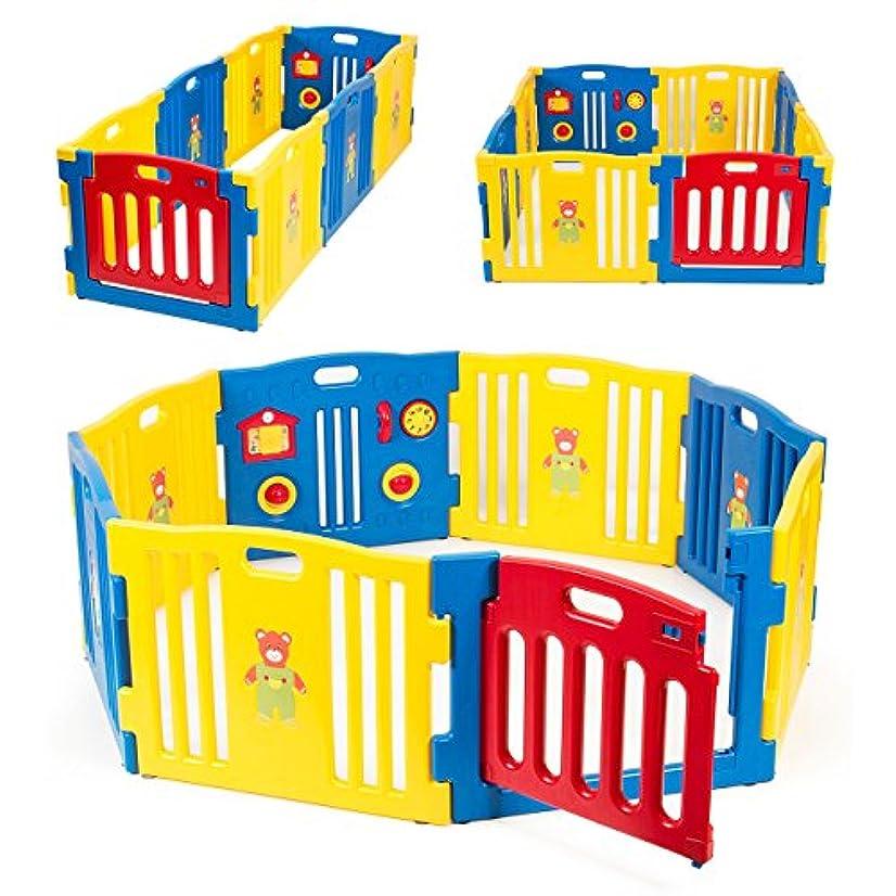 Kidzone Baby Playpen Kids 8 Panel Safety Play Center Yard Home Indoor Outdoor Pen Play Pen Children Activity (Blue)
