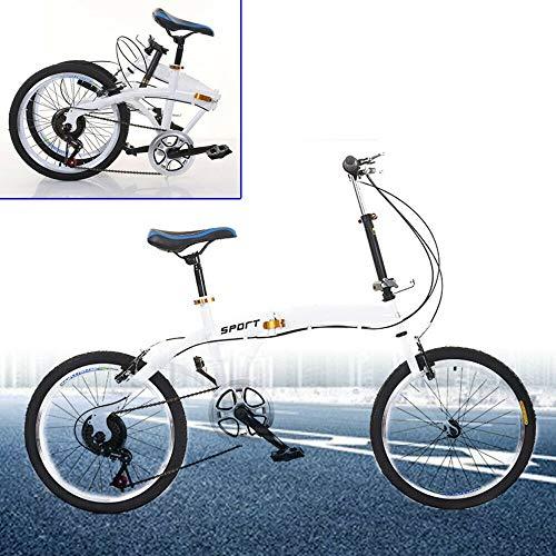 Berkalash Bicicletta Pieghevole 20' Bicicletta Pieghevole 7 Marce Bicicletta Pieghevole per Uomo Donna Ragazzi Bianco Doppio freno V