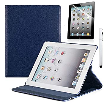 RUBAN Case Compatible with iPad 2 3 4  Old Model  9.7 inch Tablet - Multiple Angles Stand Smart Protective Cover  Automatic Wake/Sleep Feature  with Screen Protector - Navy Blue