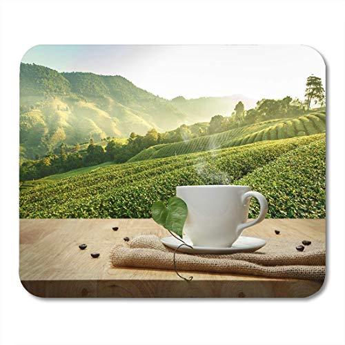 Mauspad braune kaffeetasse robusta beans holztisch und das mousepad für notebooks, Desktop-computer mausmatten, Büromaterial