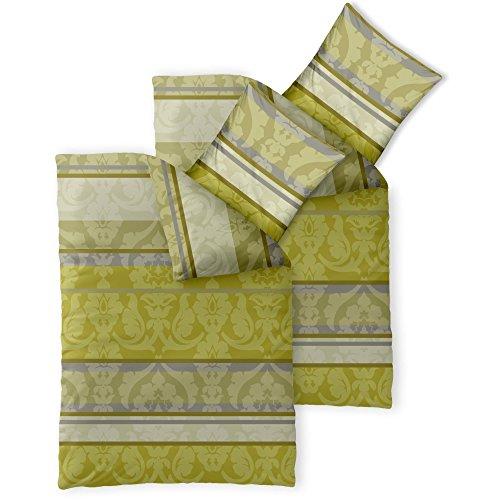 CelinaTex Fashion Bettwäsche 155x220 cm 4teilig Baumwolle Carrie Blumen Streifen Grün Grau Beige