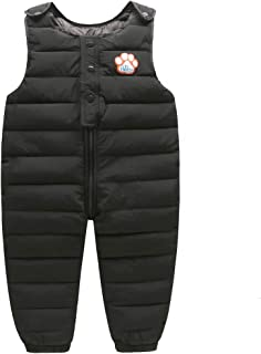 Tortor 1Bacha Baby Toddler Little Boys' Winter Puffer Snow Bib Overall Pants (2-3 Years, P-Black)
