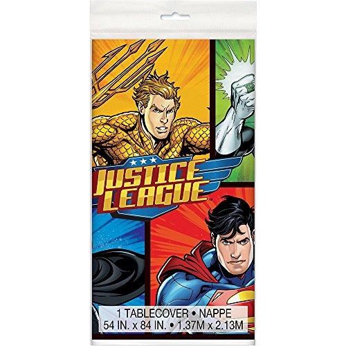 Unique Party - Mantel de Plástico - 2,13 m x 1,37 m - Diseño de la Liga de la Justicia (49963)