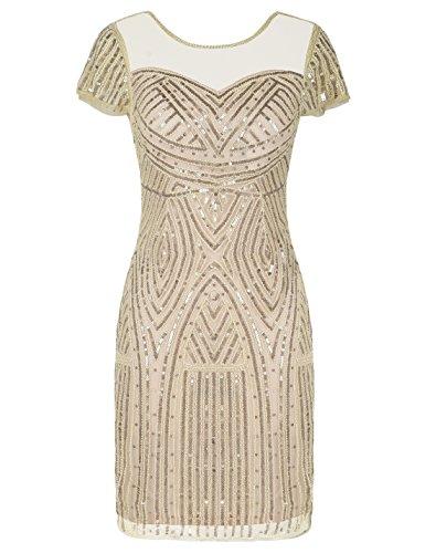PrettyGuide Damen 1920er Paillettenkleid Elegant Cocktailkleid Flapper Kleider S Chmpagner beige