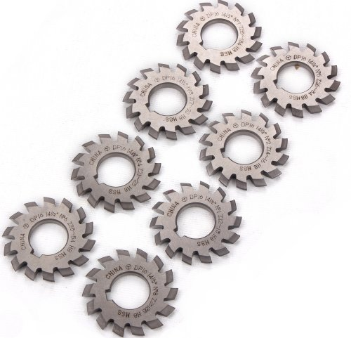 Sunwin 8PCS Gear Milling Cutter HSS 8H Set 8 Pcs DP16 PA14-1/2 Bore22 No1-8 Involute Gear Cutters Diameter 55mm