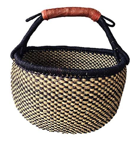 Large Blue African Basket   Round Bolga Basket   Ghana Basket   Plant Pot  Shopper or Market Basket   Picnic   Woven Basket   Toy Storage   Magazine Storage   Colors: Navy Blue & Tan (Large: 14'-16)