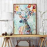 ZJMI Nordic Einfache Handgemalten Aquarell Blumen Rehe Leinwand Gemälde Kunstdruck Poster Bild an der Wand und Moderne Einrichtung 60cmx90cm