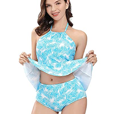 AS ROSE RICH Tankini Swimsuits for Women - Womens Swimsuit - Tankini Tops for Women X-Large Blue Leaf