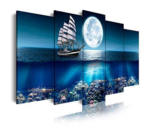 DekoArte 293 - Cuadros Modernos Impresión de Imagen Artística Digitalizada | Lienzo Decorativo Para Tu Salón o Dormitorio | Estilo Paisajes Mar Océano Barco Velero | 5 Piezas 150 x 80 cm