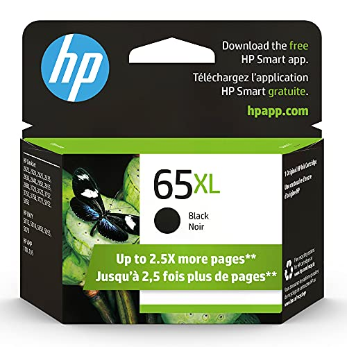 Original HP 65XL Black High-yield Ink Cartridge | Works with HP AMP 100 Series, HP DeskJet 2600, 3700 Series, HP ENVY 5000 Series | Eligible for Instant Ink | N9K04AN