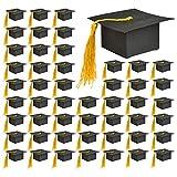 Cajas Regalos de Graduación Gorro con Borla Amarilla 50PCS Caja Caramelos de Graduación Ceremonia Cajas Favor de Graduación Cajas Toque Sombrero Bolsas Caramelos Cajas Regalo de Sombrero Graduación