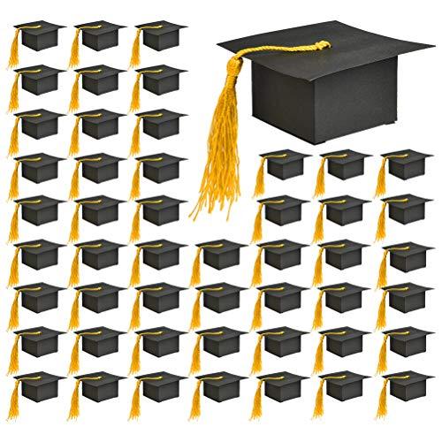 BUYGOO 50Pcs Doktorhut Geschenkbox Abschlussfeier Geschenkschachtel - Herzlichen Glückwunsch Graduation Cap Bachelor Hut Geschenkbox Baby Süßigkeit Schachtel mit Doktor-Hut
