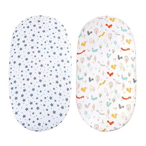 Knowoo 2 Piezas de sábanas Ajustables para Canasta - Protector de colchón para Cama de bebé Funda para Cuna Ropa de Cama para recién Nacidos Mini Almohadilla para Cuna