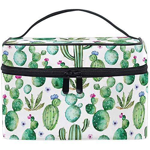 Trocial Cactus Fleurs Roses Maquillage Sac Trousse De Toilette Brosse Train Case Zip Transportant Portable Pochette De Rangement Sacs Boîte