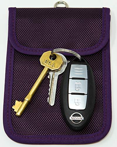 Autoschlüssel Signal Blocker Tasche KeySafe RFID Schlüsseltasche Keyless Signal Blocker Schlüssel Wallet by Remaldi Hochwertiges Oxford-Gewebe mit sicherem Nano-Gewebe-Innentasche. aubergine One Size