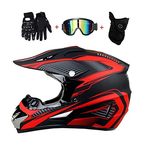 LEENP Motocross-Helm Schwarz Rot Crosshelm Set mit Brillen Maske Handschuhe, Herren Damen Motorrad-Helm Off-Road Downhill-Enduro-Helm-ATV-MTB-BMX Dirt Bikes Quad Motorräder Full-Face Schutz-Helm,B,M