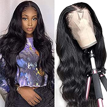 Dosacia Body Wave Lace Front Wigs Human Hair 13x4x1 T-Part HD Transparent Lace Front Wigs Brazilian Virgin Human Hair Wigs for Black Women Pre Plucked with Baby Hair 150% Density Natural Color 16inch