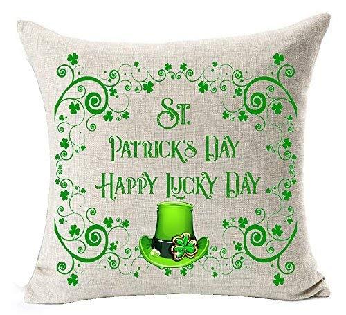 Delia32Agnes Happy St. Patrick 's Day - Funda de Almohada Decorativa con Cremallera para sofá (18 x 18 cm), diseño de trébol, Color Verde