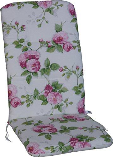 Angerer Sesselpolster hoch Design Pfingstrose Stuhlaulfage, rosa, 120 x 50 x 6 cm, 2103/012