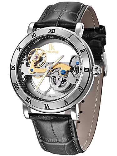 Alienwork IK Reloj Automático Hombre Mujer Plata Pulsera de Cuero Negro Esqueleto
