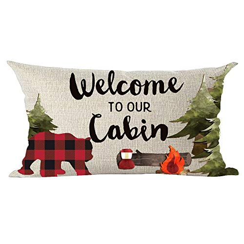 ramirar Black Word Art Welcome to Our Cabin Forest Pine Bear Bonfire Fire Decorative Lumbar Throw Pillow Cover Case Cushion Home Living Room Bed Sofa Car Cotton Linen Rectangular 12 x 20 Inches