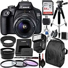 ✅ALL INCLUSIVE CAMERA BUNDLE KIT - Including: CANON EOS 4000D + EF-S 18-55mm f/3.5-5.6 III, SanDisk Ultra 64GB SDXC Memory Card, SLAVE FLASH, BACKPACK, 57 TRIPOD, 3PC Filter Kit, Telephoto and Wide Angle Lenses, MEMORY CARD WALLET, CARD READER, Wrist...