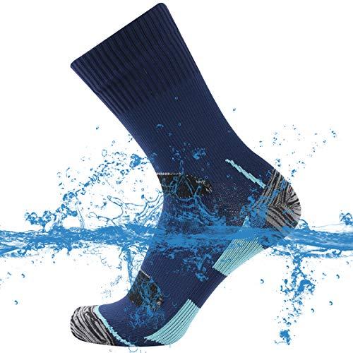 SuMade 100% Waterproof Golf Socks, Womens Mens Athletic Breathable Outdoor Dry Feet Winter Warm Crew Socks for Trekking Sailing Running Skiing 1 Pair (Blue, Medium)