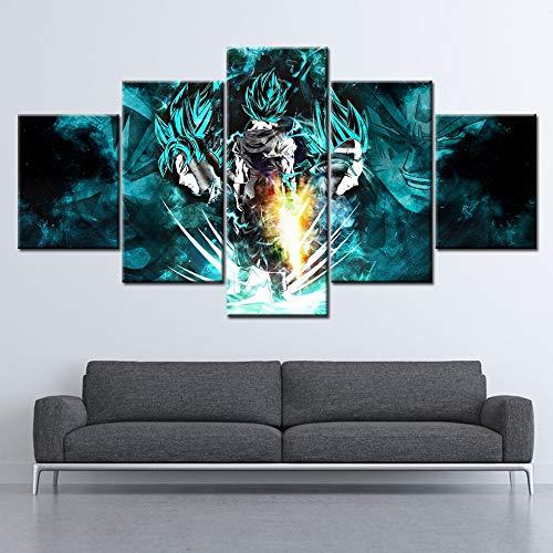 FYZKAY Bilder 5-teilig Leinwandbilder HD Drucke Leinwand Wandkunst Wohnzimmer Wohnkultur Bilder Dragon Ball Super Tapeten Gemälde Anime Poster Rahmenlos