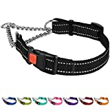 CollarDirect Reflective Dog Collar Martingale Collars Side Release Buckle Chain Training Adjustable Pet Choke Collars (M, Neck Size 14'-17', Black)