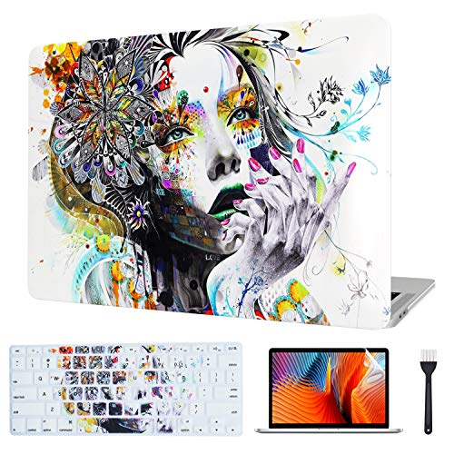 VAESIDA MacBook Pro 15 Inch Case, Rubberized Protective Hard Laptop Cover Case Shell Set Only Compatible with New Mac Pro 15\' Release 2016-2019 (Pro 15 Touch Bar Model: A1707/A1990) (Hand-Drawn Girl)
