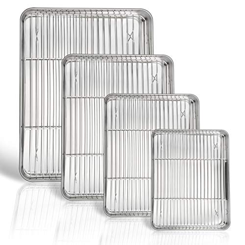 P&P CHEF Baking Sheet and Rack Set, 8 PACK ( 4 Sheets + 4 Racks ), Stainless Steel Baking Pans Cookie Sheets with Cooling Rack, Healthy & Mirror Finish,Oven & Dishwasher Safe