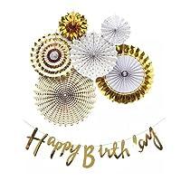 ペーパーファン ホワイト x ゴールド 6点セット + サブアイテム ガーランド 誕生日 バースデー パーティー イベント 飾り 飾り付け お祝い デコレーション (バースデーセット)