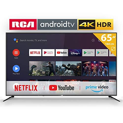 RCA RS65U2-EU Smart Fernseher (65 Zoll 4K Android Fernseher mit Google Assistant, Google Play Store, Prime Video, Netflix), HDMI, USB, WiFi, Bluetooth, Triple Tuner (DVB-C/-T2/-S2)