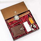 YPSMCYL Coffret Cadeau Boutique Portefeuille + Batterie Externe + Porte-clés + Montre à Quartz Grand Cadran + Stylo Coffret Cadeau Homme,Brown