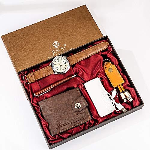 YPSMCYL Boutique Geschenkset Brieftasche + Power Bank + Schlüsselanhänger + Quarzuhr Mit Großem Zifferblatt + Stift Herren-Geschenkset,Brown