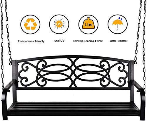 Grepatio 2 Person Hanging Porch Swing, Weather Resistant Metal Swing Bench with Chains, Ideal for Yard, Deck, Garden (Flower Back)