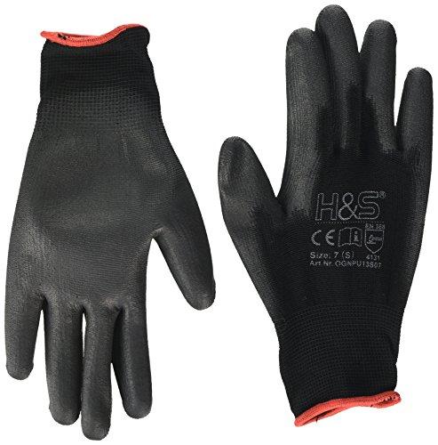 12 Paar Arbeits-Handschuhe von ISC H&S, Nylon, PU-beschichtet | verfügbar in S small (7), M medium (8), L Large (9), XL x-Large (10), XXL xx.Large (11) | nahtlos, vielseitig, schwarz, Größe 7 (S)
