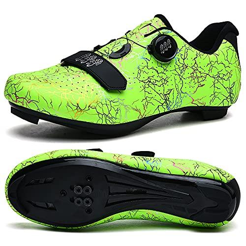 KUXUAN Zapatillas de Ciclismo para Mujer Hombre Carretera SPD Bike Zapatillas de Ciclismo Spin Shoestring con Compatible SPD Look Delta Cycle Riding Cleat Zapatillas Peloton,Green-12UK=(280mm)=46EU