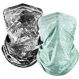 MCTi UV Neck Gaiter Mask, UPF 50 Bandana Balaclava Face Mask Breathable Cooling Sun Summer for Fishing Running 2 Packed Black and Cyan