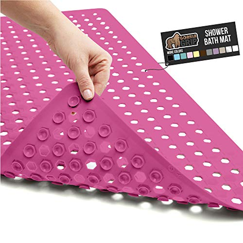 Gorilla Grip Original Patented Bath, Shower, Tub Mat, 35x16, Washable, Antibacterial, BPA, Latex, Phthalate Free, Bathtub Mats with Drain Holes, Suction Cups, XL Size Bathroom Mats, Hot Pink Opaque