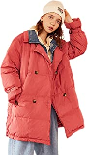 Women's Jacket Autumn and Winter Cold Warm Coat Denim Stitching Natural Fluff Filling Thickening in The Long Section (Color : Pink, Size : M)