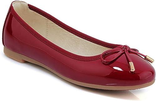 ZYN-XX Chaussures Plates en Cuir Verni pour Femmes Chaussures Plates tête Ronde Chaussures en Rouleaux Chaussures en Arc Chaussures à Fond Souple
