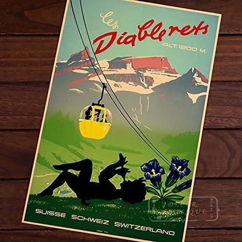 Schweiz Auto Kabel Pop Art Karte Poster Vintage Classic Retro Kraft dekorative Karten Reiseplakate Aufkleber Wanddekor Leinwand G.