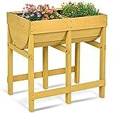 COSTWAY Hochbeet Holz, Blumenbeet, Blumenkasten Garten, Pflanzkasten Gelb, Blumentrog mit 2 Fächern (Gelb)