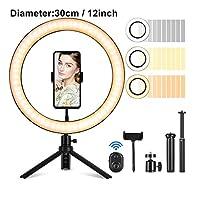 """スマートフォンの化粧のための10 12""""LEDの呼び灯写真Selfie Ring Lightingスタンドビデオスタジオ三脚リングライト (Color : 12 inch)"""