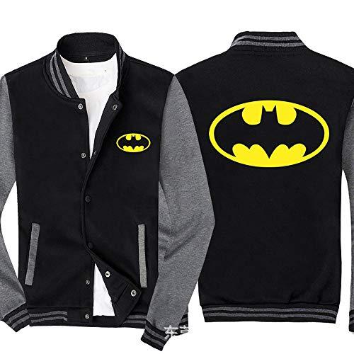 Shirts Sweat Vestes d'homme - DC Imprimé Sweat à Manches Longues Tenue De Baseball Zip Jacket - Cadeau Ados Black Gray-L