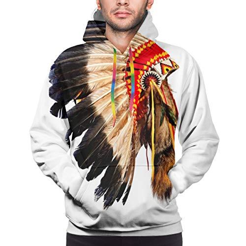 Ye Hua Indio Nativo Americano Jefe Tocado Disfraz de Mascota Pluma Tribal Unisex 3D Novedad Sudaderas con Capucha pulver Sudadera Bolsillos Navidad M