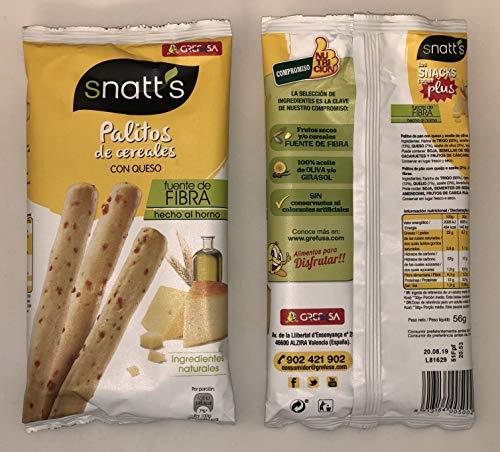 Snatt's Palitos de Cereales con Queso GREFUSA Bolsa [Pack 10 x 56 g]